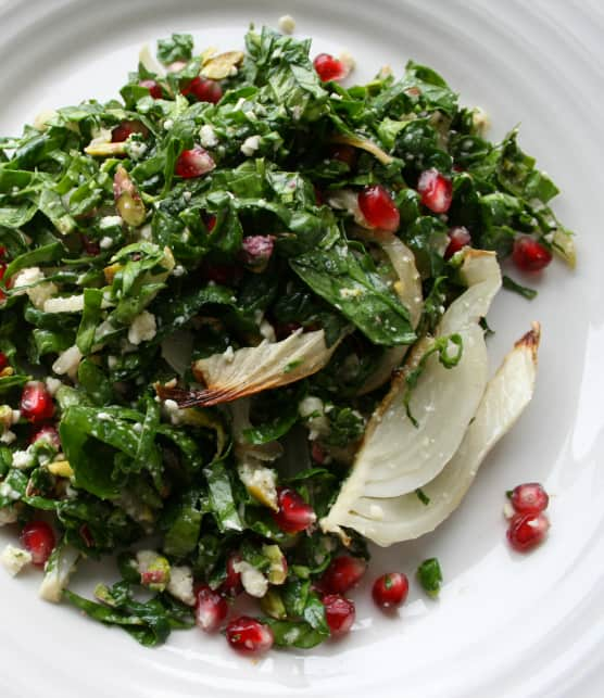 Salade de fenouils braisés, ricotta de macadam à la sauge et poires