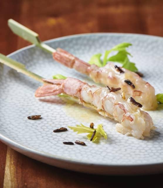 Crevettes d'Argentine au beurre moussant parfumé de livèche