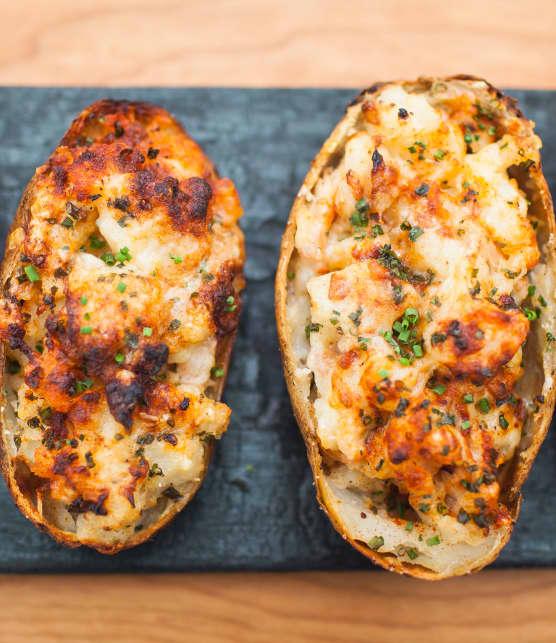 Pommes de terre farcies au jambon fumé et fromage