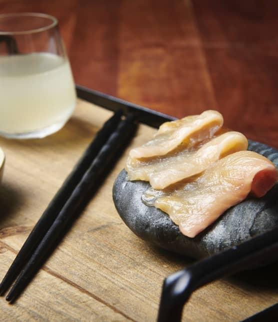 Sashimi d'omble chevalier, sauce ponzu