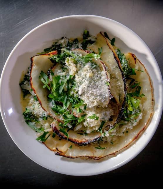 risotto au kale et au chou brûlé