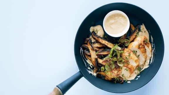 Poulet aux portobellos grillés, sauce dijonnaise