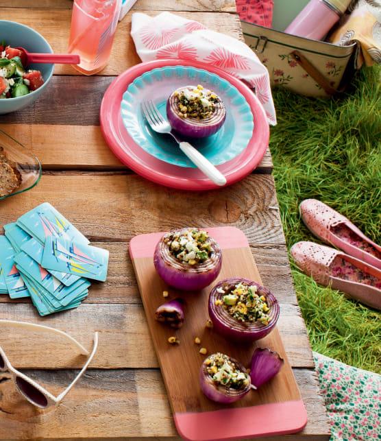Oignon grillé farci à sa salade de quinoa