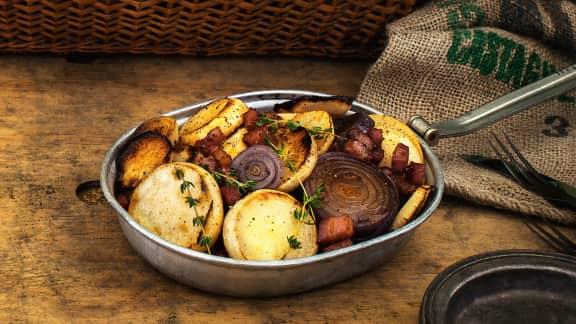 Rabioles aux oignons et pancetta