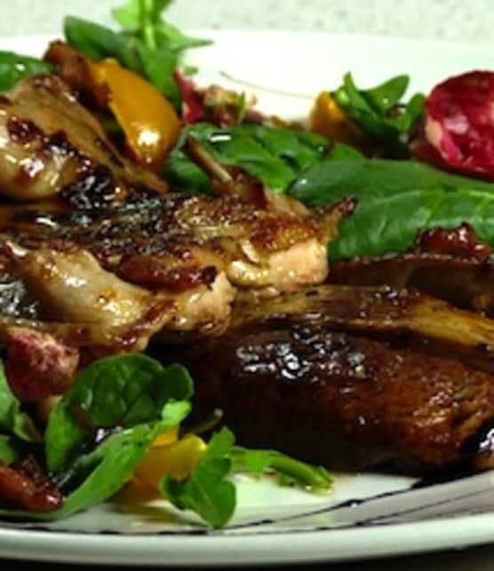 salade tiède de cailles grillées et de portabella