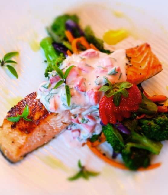 Filet de saumon biologique mariné au sirop d'érable et gingembre