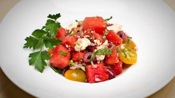 Salade grecque au melon d'eau
