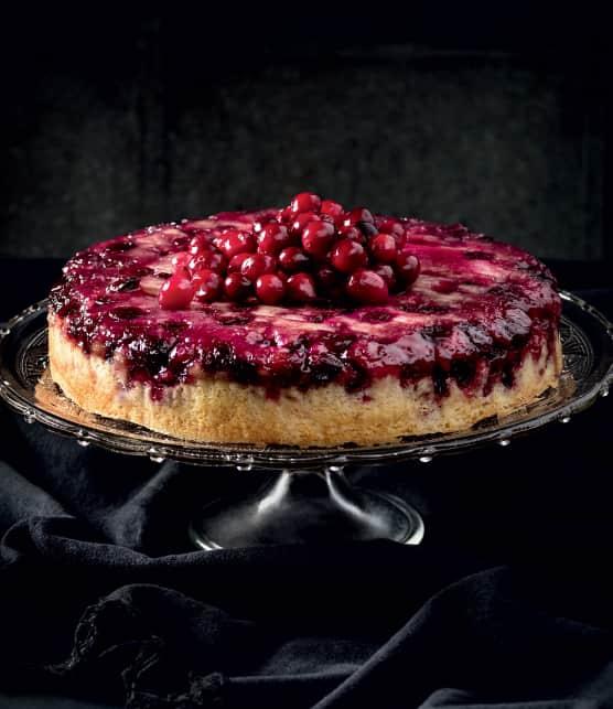 Gâteau renversé à l'érable et aux canneberges