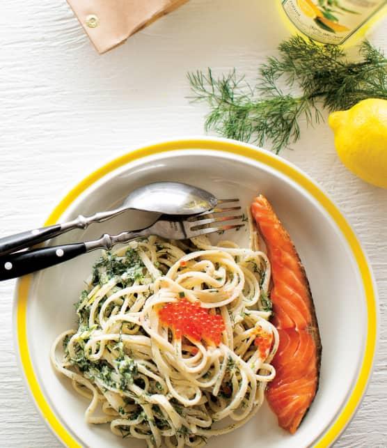 gravlax et linguines citron-mascarpone