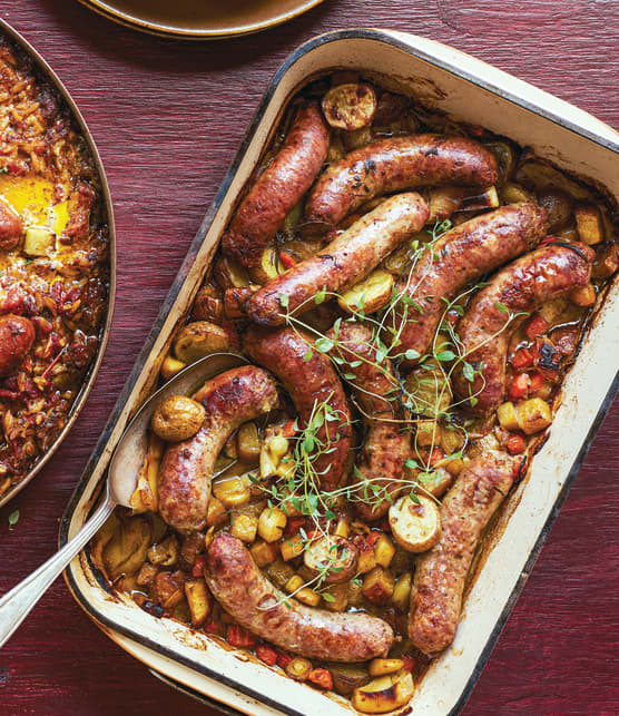 Fricassée de saucisses de Toulouse  aux légumes d'automne rôtis