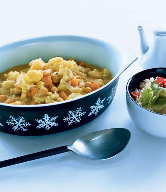 Curry de légumes, lait de coco et zeste d'orange