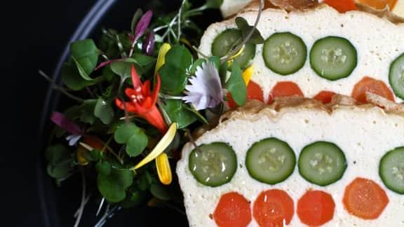 terrine d'oeufs aux légumes et à la mousse de céleri-rave