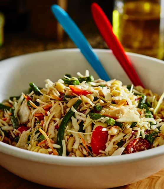 Salade-repas aux deux haricots et au gratin de chou-fleur (style César)