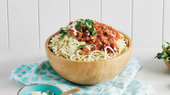 Panais à la pancetta et à la sauce tomate