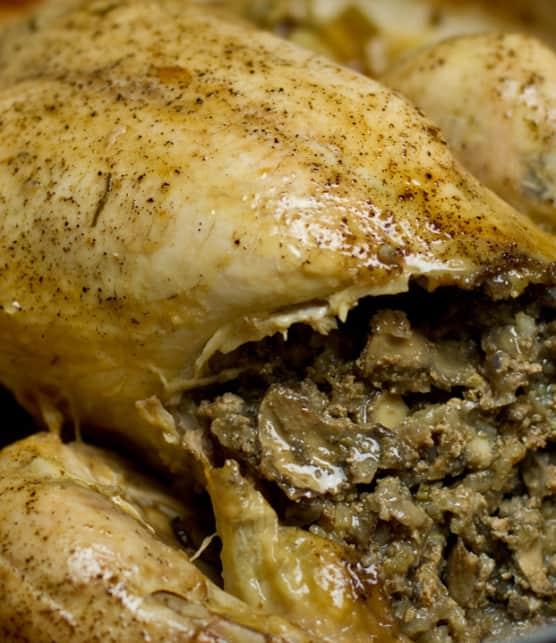 poulet farci aux foies de volailles