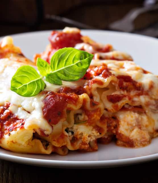 roulé de lasagne à la ricotta et à la pancetta