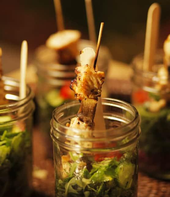 salade de poulet dans un pot masson
