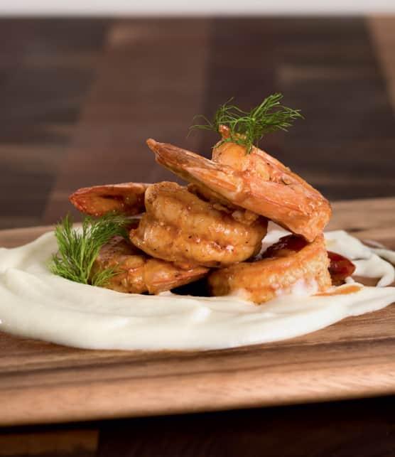 purée de fenouil et crevettes géantes grillées