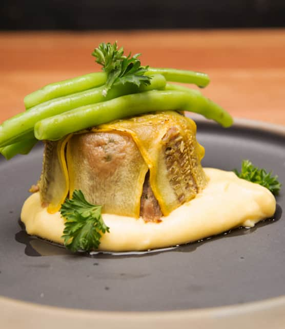 renversé d'échine de porc, polenta crémeuse au romarin