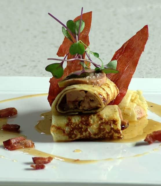 crêpes au bacon et au foie gras
