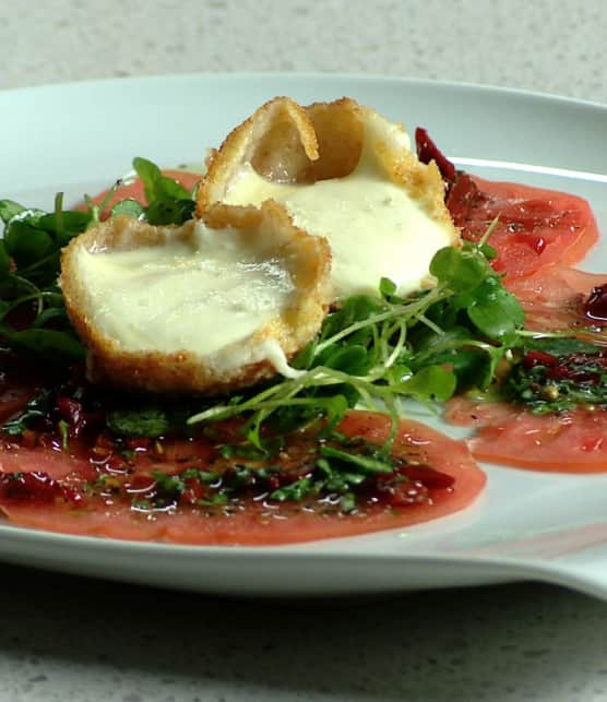 carpaccio de tomates et bocconcinis frits