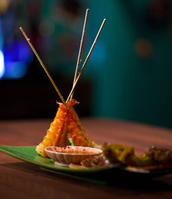 légumes et crevettes tempura