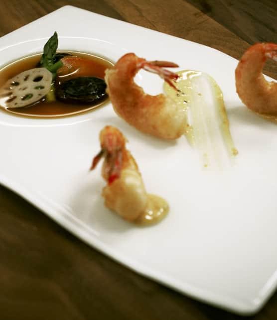 crevettes poêlées, vinaigrette thaïe