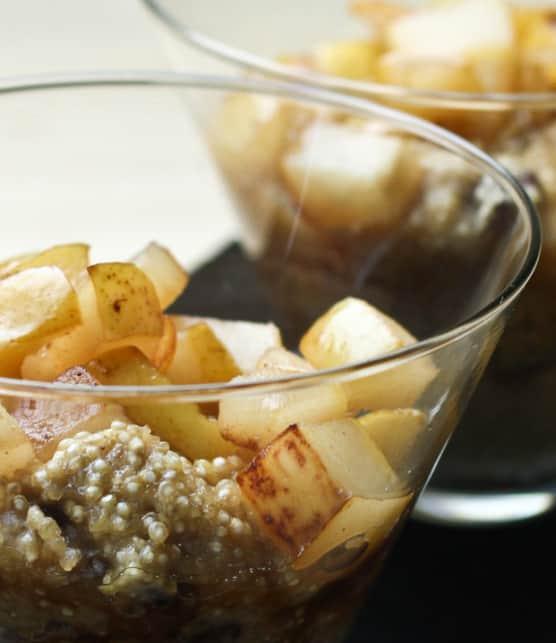 quinoa crémeux aux poires caramélisées