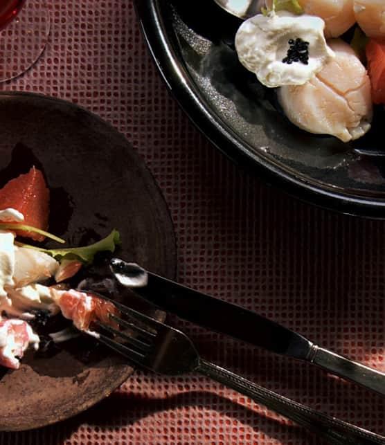 salade de pétoncles, de pamplemousse et de navets