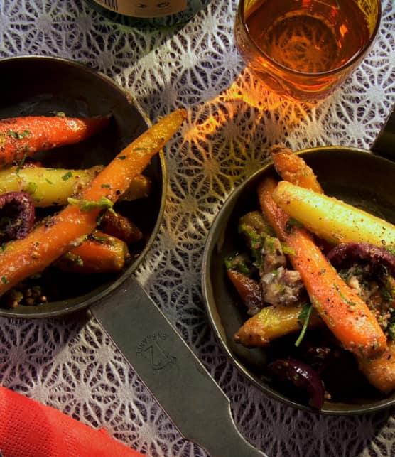 poêlée de légumes avec beurre composé aux sardines