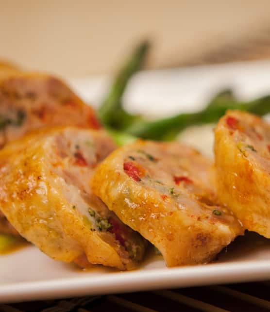 ballotines de cuisses de poulet au proscuitto et au fromage