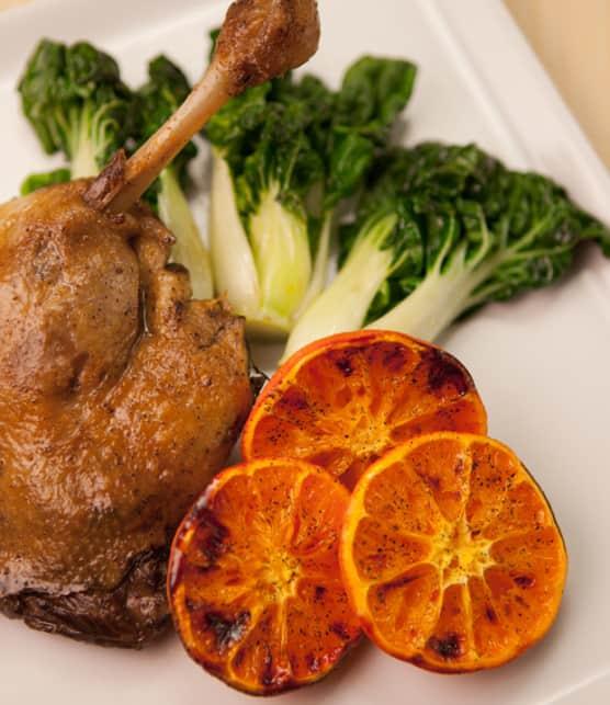 cuisses de canard confites et ses clémentines rôties