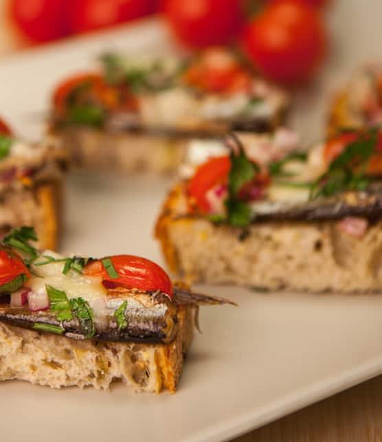 bruschettas de sardines sur mouillette