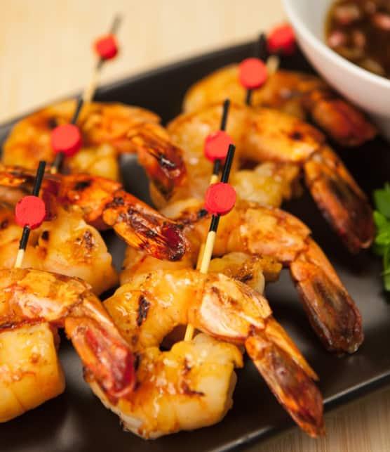 brochettes de crevettes sauce pimentée aux arachides