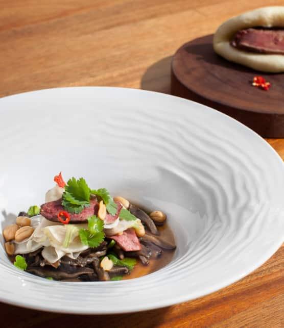 satay de canard avec soupe tonkinoise de shiitake