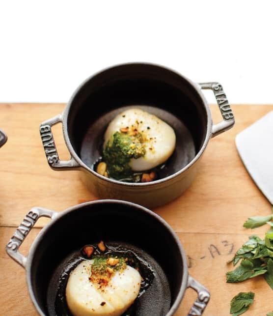 pétoncles gratinés à la pistache