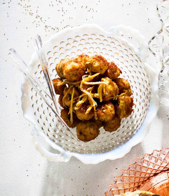 Mini boulettes de porc, sauce au safran