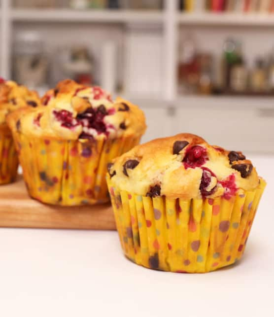 muffins canneberges et chocolat