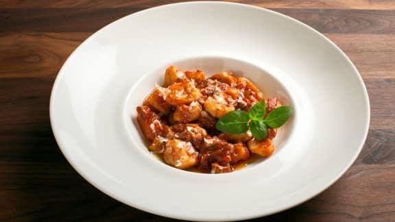 Gnocchis à la sauce tomate et champignons