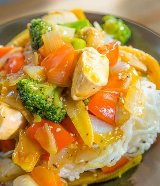Sauté de général Tao aux légumes