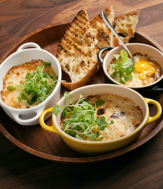 cassolettes d'oeufs au jambon et à la crème