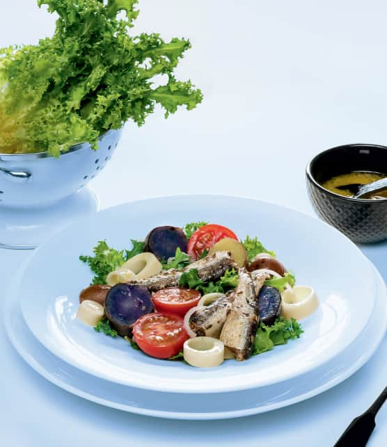 Salade de sardines, pomme de terre grelots et tomates cerises