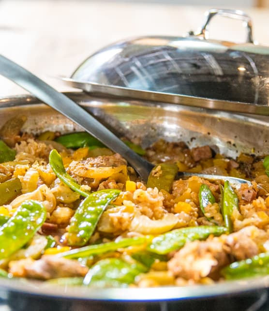 Casserole de riz aux deux porcs