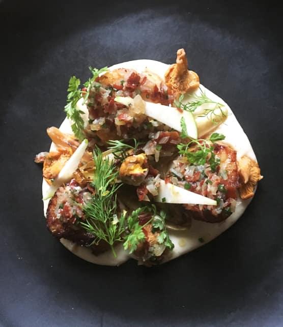 Pétoncles, purée de panais et vinaigrette au Prosciutto