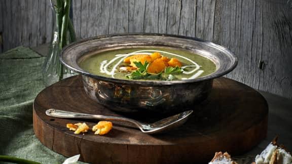 Velouté de laitue et polenta grillée
