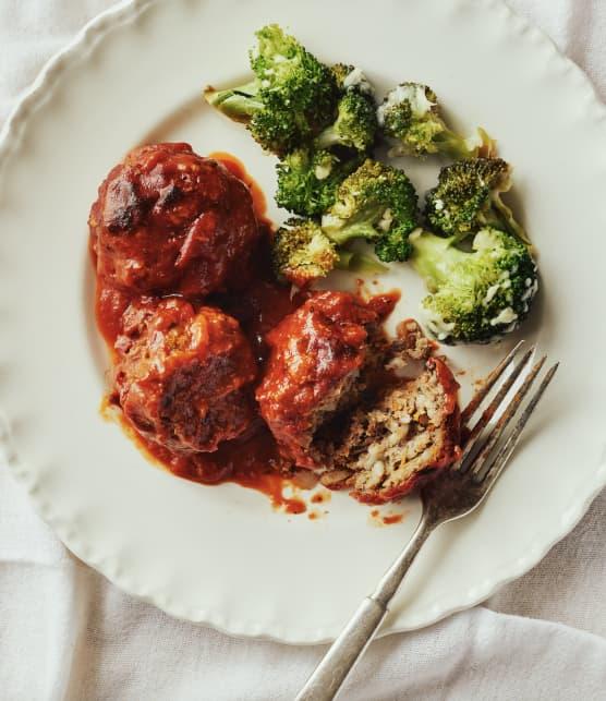 Boulettes porc-épic & brocoli au parmesan