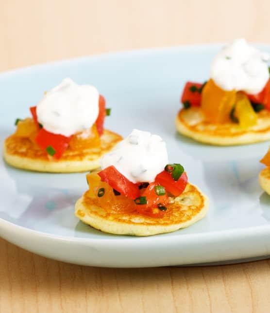 mini-pancakes façon blinis au citron et à la ciboulette