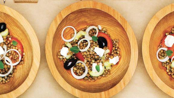 Salade grecque aux lentilles