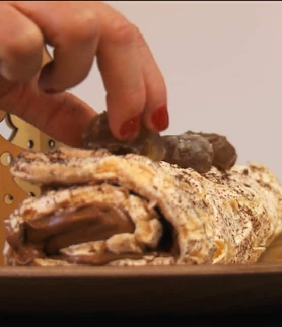 bûche meringuée au chocolat et à la crème de marron