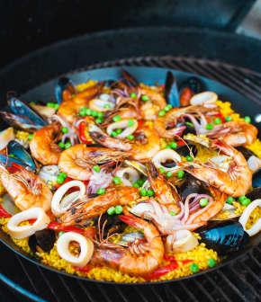 recette de paella grillée aux fruits de mer